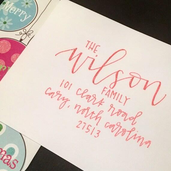 Holiday Envelope Addressing Hand Lettered Holiday By JoyByJess