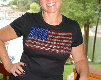 4th of July American Flag  rhinestone   bling  shirt,  all sizes XS, S, M, L, XL, XXL, 1X, 2X, 3X, 4X, 5X