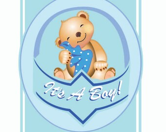 Personalised and Printable Its A Boy Birthday Card