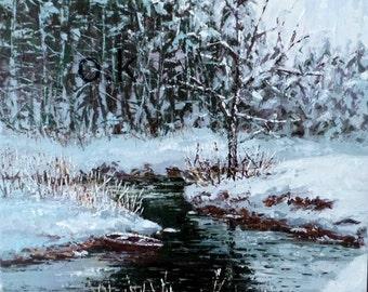 Winter original oil painting