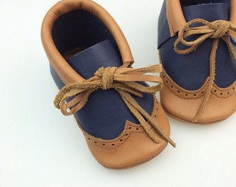Baby Toddler Moccasin Oxford Brogue **Genuine Natural Leather**
