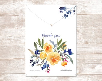 Thank you card, single pearl necklace, necklace card, gift for her, bridesmaid gift, pearl and gold necklace,  thank you gift, necklace card