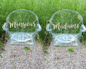 Décoration '' Monsieur '' et '' Madame '' pour Mariage