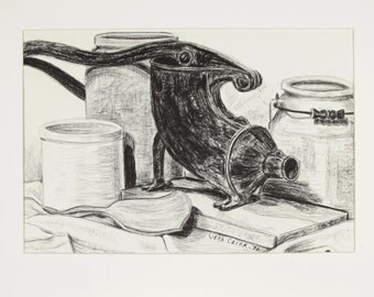 ORIGINAL pencil/ink, signed, still life, old fashioned apple corer, jugs, gift art, 18x24/mounted 22x28