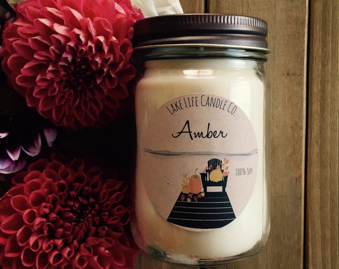 Fall Collection: Amber Handmade Soy Candle by Lake Life Candle Co.