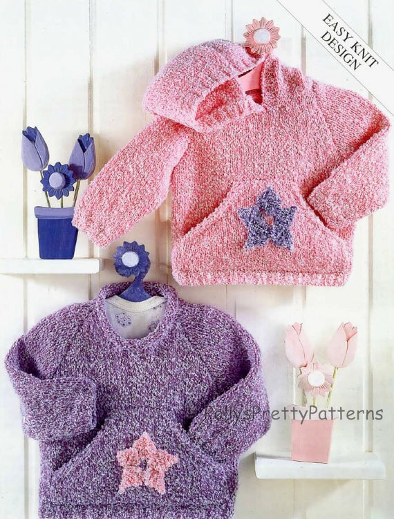 Knitting Pattern Chest Sizes : PDF Knitting Pattern for Easy Knit Hooded and Crew Neck