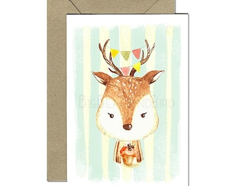 Hello Reindeer Friendly Woodland Creatures Greeting Cards