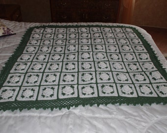 REDUCED PRICE 3-D White Rose Garden Afghan Throw