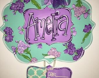 Baby Girl Hospital Door Hanger, Floral Birth Announcement Door Hanger