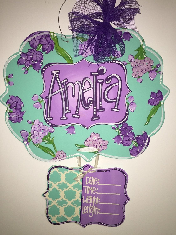 Baby girl hospital door hanger floral birth announcement