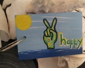 Peace Vibes hand painted wooden keychain or bag tag - Beach vibes