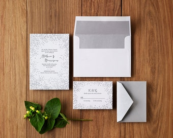 Winter Snow - Custom Letterpress Wedding Invitations Stationery Suite, Deposit Only
