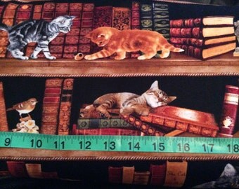 Library Cats fabric by Timeless Treasures, sold  by the half yard