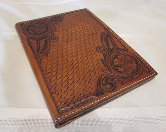 """Leather Note Pad, Portfolio, Hand Carved, Hand Tooled, Sheridan, Western, 5"""" W x 7"""" H Note Pad"""