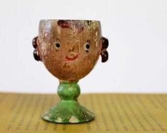 Vintage wood egg cup - egg holder - little girl egg cup - vintage home decor - vintage kitchen decor