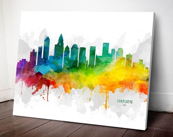 Charlotte Skyline Canvas, Charlotte Print, Charlotte Decor, Charlotte Gift, Charlotte Cityscape, MMR-USNCCH05C