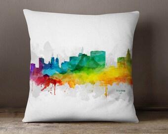 Newark Skyline Throw Pillow, 18x18, Newark Cityscape, Newark City Pillow Case, Cushion, Gift Idea, MMR-USNJNE05PI