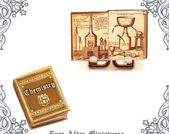 CHEMISTRY TEXTBOOK Dollhouse Miniature Book –1:12 Science Laboratory Experiment Chemistry Book Miniature Periodical table Printable DOWNLOAD