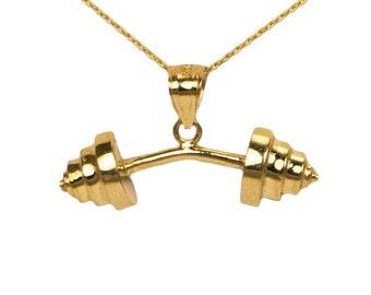 14k Yellow Gold Dumbbell Pendant