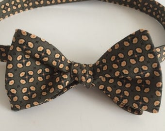 Olive/Gray abstract floral bow tie