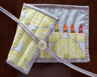 Yellow Crayon Roll, Gray Crayon Holder, Flowers, Modern Roses, Gray Yellow, Moda, Crayon Holder, Crayon Tote, Handmade, Girl, Crayon Roll Up