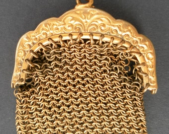 Mesh purse gold colour vintage French for restauration or for jewelry making