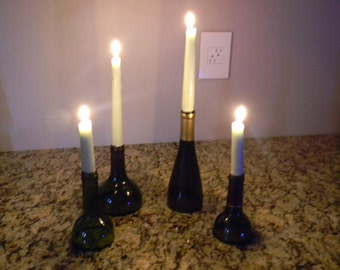 Wine bottle top candle holders
