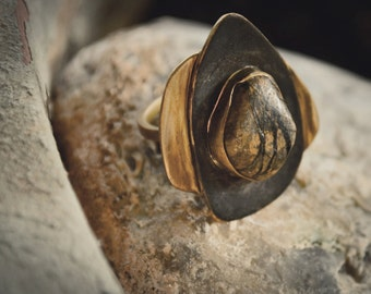 Brass ring-Pebble ring-Oxidised ring-Hand sculpted-Jewelry