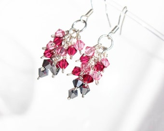 Valentine's Day Gift - Valentine's Day Jewelry - Gift For Her- Pink and Red Earrings - Crystal Earrings - Cluster Earrings - Dangle Earrings
