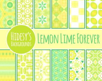 "Yellow and Green Watercolor Digital Paper / Background / Pattern ""LEMON LIME FOREVER"""