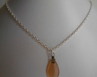Minimalist necklace drop orange glass