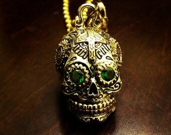925 sterling silver sugar skull, day of dead, dia de los muertos