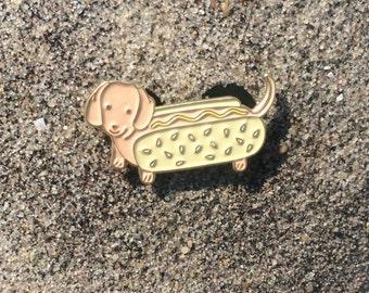 Wiener Dog Hot Dog Enamel Pin
