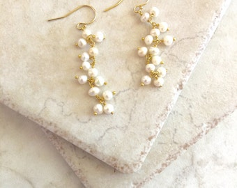 Pearl Earrings June Birthday Gold Pearl Earrings Wedding Jewelry Bridal Earrings Bridesmaid Gift Bridal Earrings Wedding Pearls White Pearls