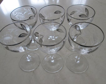 Crystal Wine Glasses with Floral and Silver Leaf Design