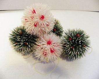 Vintage 1950s Plastic Bristle Christmas Holly Ball Ornaments Set of Six