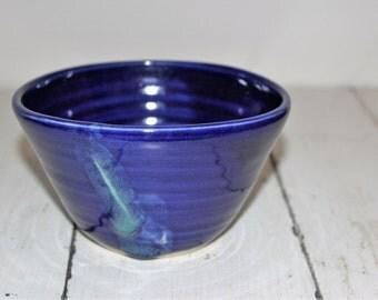 blue ceramic cereal bowl