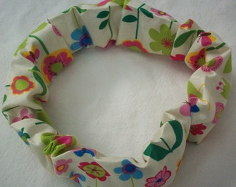 Flower and Bird Dog Collar Cover, Spring Design, Cozee, Scrunchee, Cozy