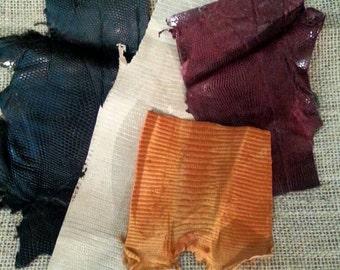 Genuine Lizard, Leather Scrap, Leather Scraps, Accents, Expresso Brown, Burgundy, Albino, Cognac