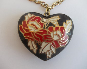 Enamelled heart, Flowers and Bees