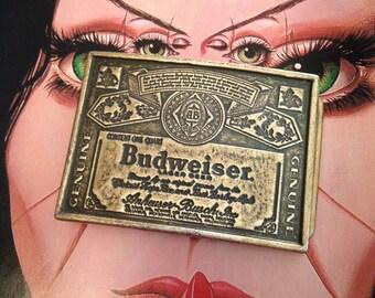 BUDWEISER beer solid brass belt buckle