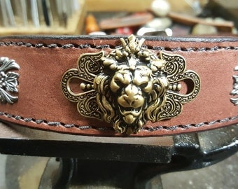 Leather Dog Collar, Custom Hand Crafted Leather Lion Dog Collar, vintage dog collar, personalized