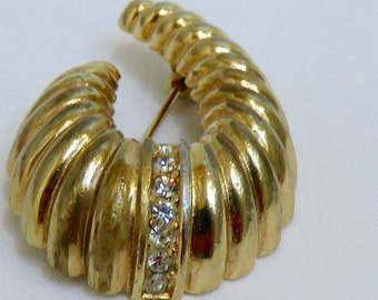 Fabulous Vintage Signed Christian Dior Crescent Shaped Brooch Pin - 1980's