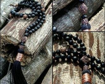 Black Matte/Glossy Onyx Bead Necklace w/Tassel,Copper Embellishments Statement Jewelry Crystal Designer Pendant Fashion Home Gem