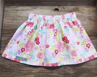 Floral print skirt, infant/toddler/girl skirt, handmade clothing