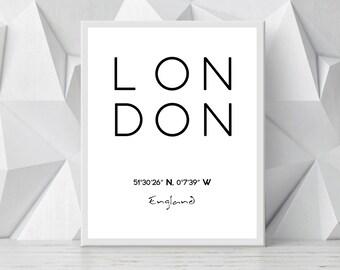 Printable London Poster, London Print, City Print, London City Coordinates Poster, London Poster, London City Coordinates INSTANT DOWNLOAD