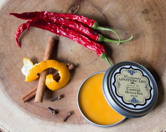 Cayenne Muscle Rub - Orange, Cinnamon & Clove Scent - Helps heal sore muscles, great for athletes - Hand made
