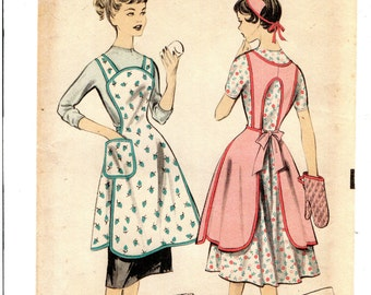 vintage 1953... teens apron-mitt-cap pattern... size 14 ... perfect for the young cook...easy make...easy wear style... # 128
