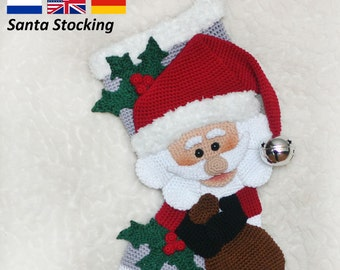 Santa Christmas Stocking  - Crochet Pattern