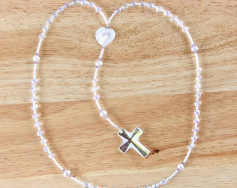 First Communion White Rosary Beads